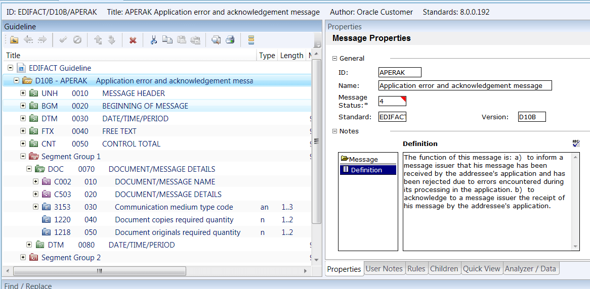 Oracle B2B Document Editor – Defining a custom message (Part